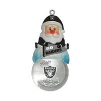 NFL Oakland Raiders Snow Globe Ornament, Silver, 1.5""
