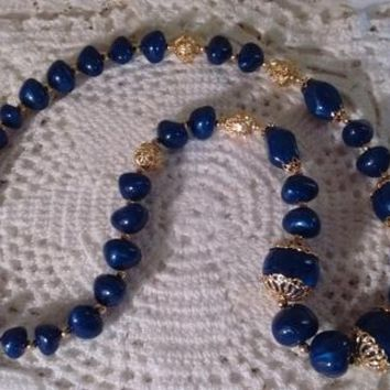 Trifari TM Blue and Gold Necklace: