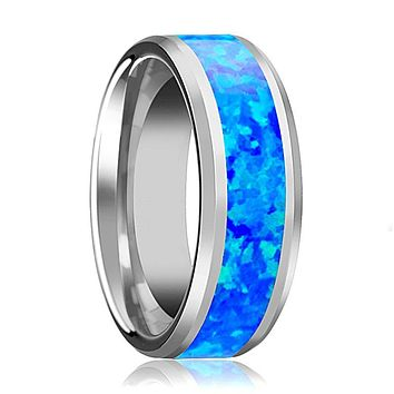 Tungsten Opal Ring - Blue Green Opal Inlay - Tungsten Wedding Band - Polished Finish - 4mm - 6mm - 8mm - 10mm - Tungsten Wedding Ring