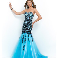 Sky Blue & Black Strapless Lace Trumpet Gown