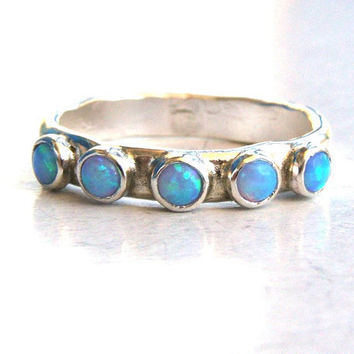 Opal ring - Recycled silver sterling ring and Opal stones MADE TO ORDER