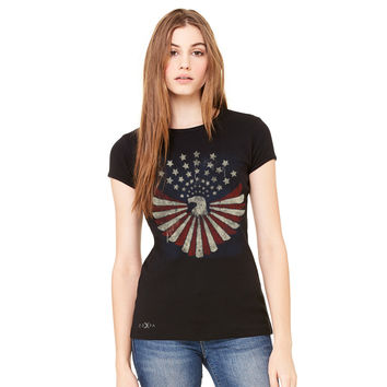 Zexpa Apparel™ American Bald Eagle USA Vintage Flag Women's T-shirt Patriotic Tee