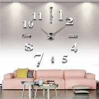 3D Acrylic Mirror Modern Numbers & Letters DIY Wall Clock - Large