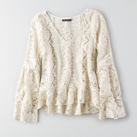 AEO LACE BELL SLEEVE TOP