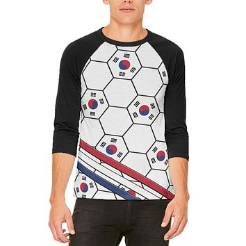 World Cup South Korea Soccer Ball Mens Raglan T Shirt
