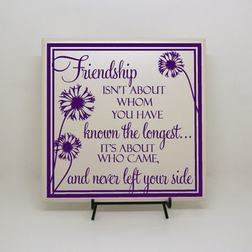 Friendship isn't about whom you have known the longest- Friends Sign, Friends Gift, Friends and Family, Goodbye Gift, Thank you Gift