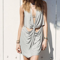 Grey Cross Front Sleeveless Dress