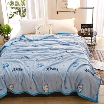 2018 Blue Whales Fish Soft Summer Print Thin Blanket Little Throws Coral Fleece Microfiber Plaids Bedsheet Polyester