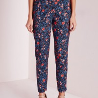 Missguided - Floral Print Cigarette Pants Teal
