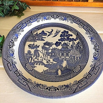 Churchill England, Blue Willow England Platter, Staffordshire England Plate, Blue Willow Chop Plate, Blue Serving Platter, Blue Willow China