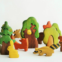 BIG SET Animal toys Forest animals (9pcs) + Trees (5pcs) Nature table Waldorf toys Wooden toys Animal figures Toys for kids Baby shower
