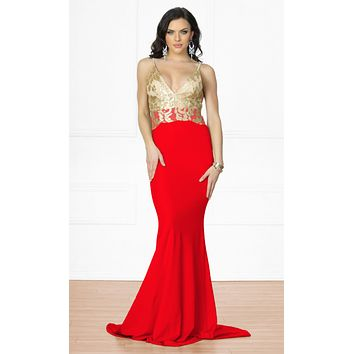 Indie XO Always Amazing Red Gold Metallic Lace Sleeveless Spaghetti Strap Plunge V Neck Backless Ruched Maxi Dress Gown  - Back in Stock