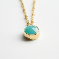 Mint Opaque Glass Stone Pendant on 24inch Matte Gold Chain