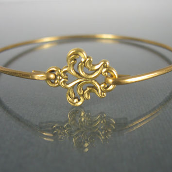 Gold Filigree Bangle Bracelet - Boho Chic - Boho Jewelry - Victorian Filigree Jewelry - Stacking Bangles - Stacking Bracelets - Boho Bangle