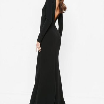 Missguided - Black Open Back Maxi Dress