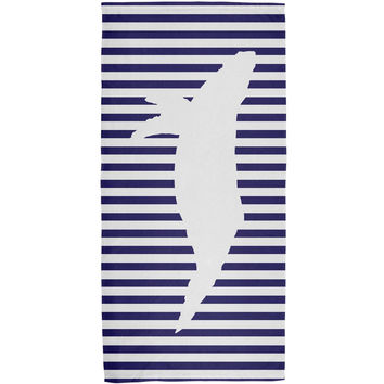 Whale Nautical Stripes All Over Bath Towel