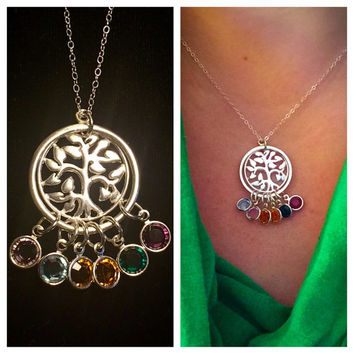 The Family Tree sterling silver necklace with up to 6 Swarovski crystal birthstones included!