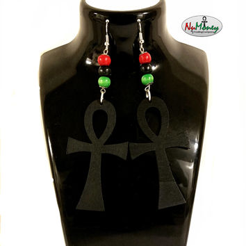 Wooden RBG Ankh of Life Earrings