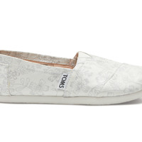 TOMS Ivory Silver Jacquard Youth Classics White