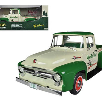 "1956 Ford F-100 Pickup Truck ""Mountain Dew"" Limited to 1250pc 1-18 Diecast Model Car by Autoworld"