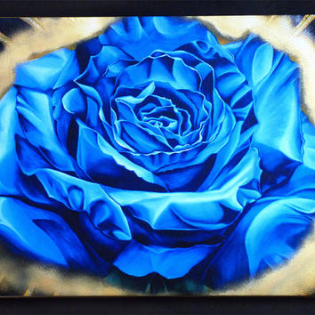 Blue rose, art print, canvas, painting, giclee, graffiti, LARGE, wall decor, contemporary, dia de los muertos, gold