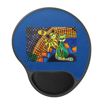 Cheer Up My Friend Colorful Rainbow Cat Design Gel Mouse Pad