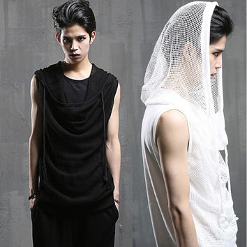 Cool Men`s Gothic Punk Tshirts With Hood Mesh Summer Clothing Fake 2 Pieces Drawstring Sleeveless Tees T Shirt