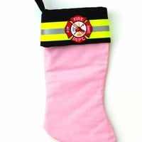Pink Fire Dept Christmas Stocking
