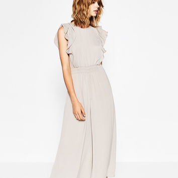 FRILLED SHOULDER JUMPSUIT