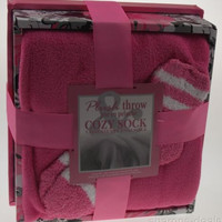 Pink Plush Throw 50x60 Ultra Soft Cozy Fuzzy Ladies Socks Gift Box Blanket Set