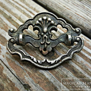 Cottage Chic Furniture Pulls Shabby Chic Drawer Pulls Petite Vintage Pewter Bail Dresser Pulls Silver & Black Antiqued Silver Drawer Handles