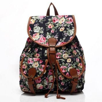 LMFON1O Day First Cute Black Flower Large College Backpacks for School Bag Canvas Daypack Travel Bag