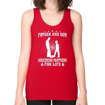 FATHER AND SON SOCCERING Unisex Fine Jersey Tank (on woman)