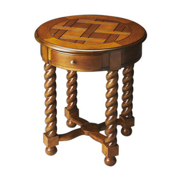 Butler Home Livingroom Furniture Round Accent Table Finish Type Moderate Vintage Oak