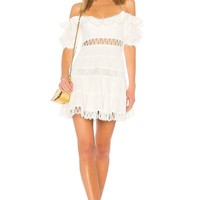 White Ruffled Off Shoulder Mini Dress