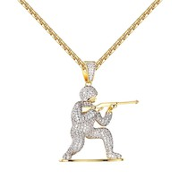 """Cover Fire Army Man Pendant Shooting Iced Out 14k Gold Tone Lab Diamonds 24"""" Chain"""