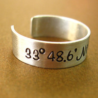 Personalized Latitude and Longitude Ring - Adjustable ring in aluminum, copper or brass