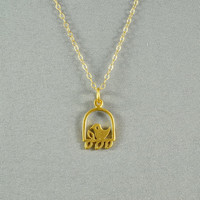 Sweet Caged Song Bird Necklace, 24K Gold Vermeil, 14K Gold Filled Chain, Modern, Simple, Delicate, Everyday Wear Jewelry