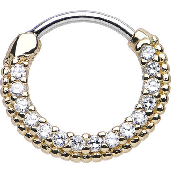 """16 Gauge 3/8"""" Clear CZ Gold IP Ring of Brilliance Septum Clicker"""