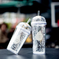 Fashionable Double Layer Plastic Water Bottle With Straw  BPA free Portable Clear Body Bottle with Straw 360ml or 480ml SH104