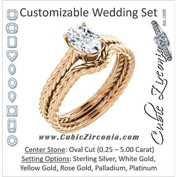 CZ Wedding Set, featuring The Florence engagement ring (Customizable Cathedral-set Oval Cut Solitaire with Vintage Braided Metal Band)