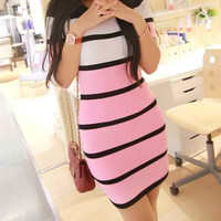 Pink Striped Mini Dress