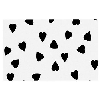 "Suzanne Carter ""Hearts Black"" White Decorative Door Mat"
