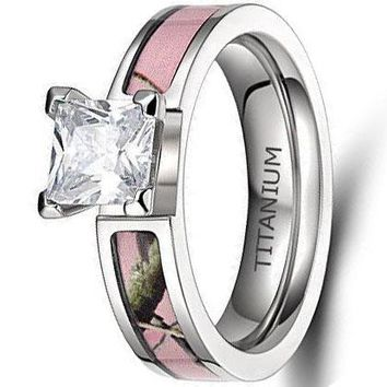 CERTIFIED 5mm Pink Camo Titanium Rings for Women with Cubic Zirconia