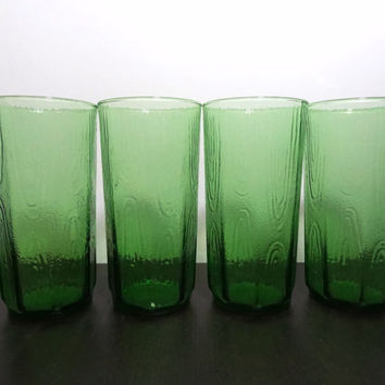 Vintage Large Green Tumblers/Glasses with Faux Wood Grain Design Pattern - Anchor Hocking - Set of 4 - 24oz Glasses - Mid Century Modern