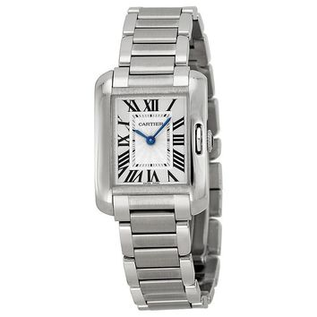 Cartier Tank Anglaise Silver Dial Stainless Steel Bracelet Ladies Watch W5310022