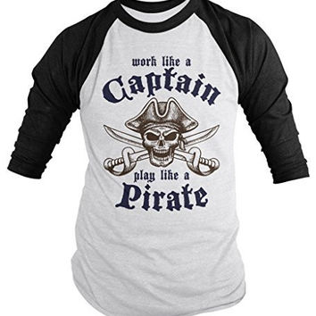 Shirts By Sarah Men's Play Like Pirate Shirt Skull Work Captain 3/4 Sleeve Raglan Shirts