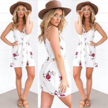 Floral Rose White  Sleeveless Chiffon Short Mini Dress