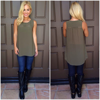 In A Bind Cutout Blouse - OLIVE