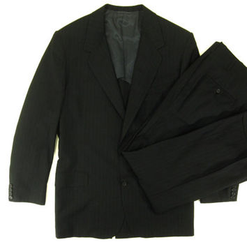 Vintage Pinstripe Suit from Oxxford Clothes - Dark Charcoal Grey Wool Pin Stripes Striped - Men's Size 46 XL Extra Large
